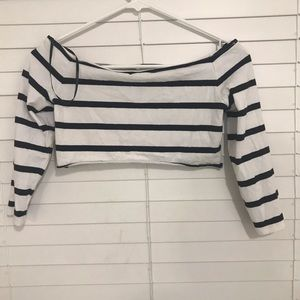 Striped Bardot crop top